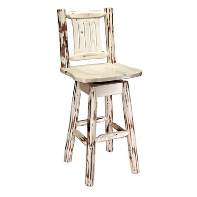 Abordale 30 Square Seat Swivel Bar Stool Finish: Lacquered