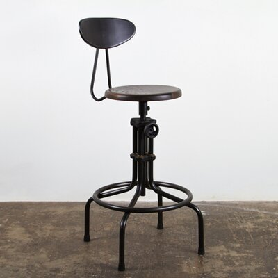 V19C Adjustable Height Bar Stool Finish: Seared Oak