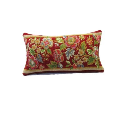 Beacham Floral Wool Lumbar Pillow Color: Red