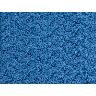Majorca Squiggle Cable Cotton Throw Color: BLUE