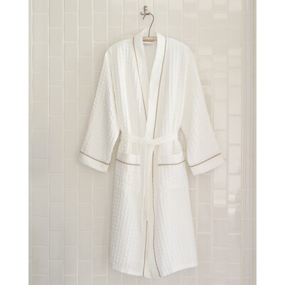 Waffle Bathrobe Size: Small /  Medium, Color: White Piping