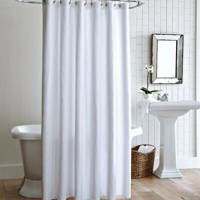 Vienna Cotton Shower Curtain Color: White