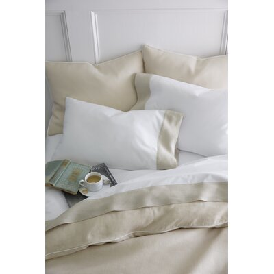 Mandalay Cuff 200 Thread Count Flat Sheet Size: Queen, Color: Pearl