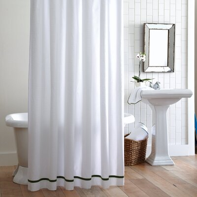 Tailored Pique Cotton Shower Curtain Color: Green
