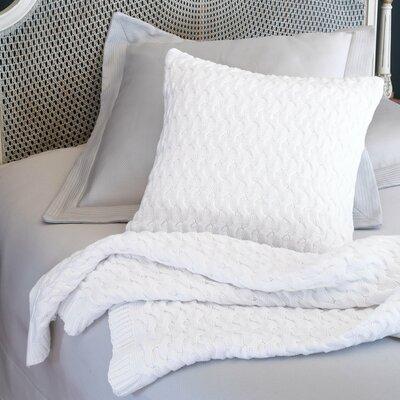 Majorca Squiggle Cable Cotton Bed Rest Pillow Color: White