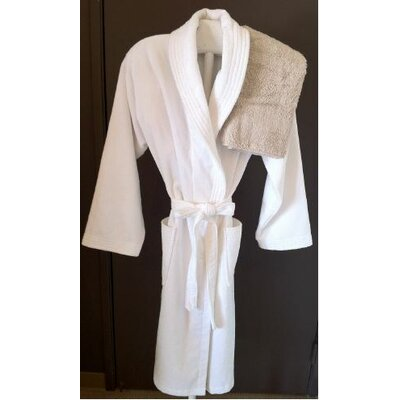 Plush Bathrobe Size: Large/XL, Color: White