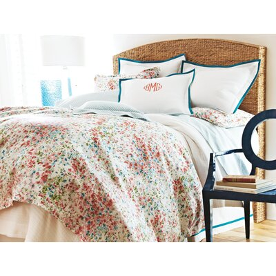 Pique Tailored Cotton Coverlet Size: Queen, Color: Aqua