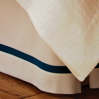 Pique Tailored Cotton Bed Skirt Color: Navy, Size: King