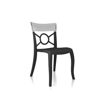 OPera-S Side Chair (Set of 4) Finish: Anthracite Seat, Transparent Back