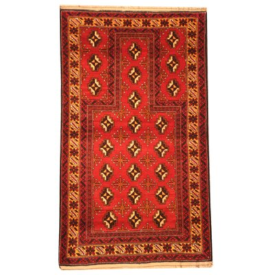 Balouchi Hand-Knotted Red/Beige Area Rug