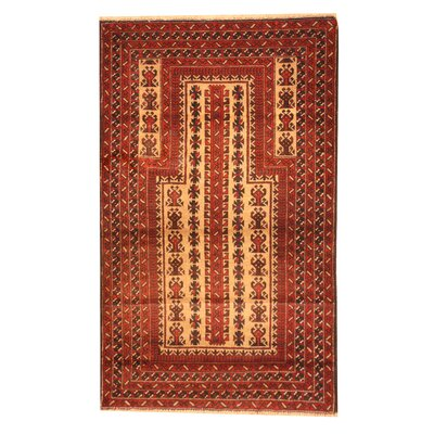 Balouchi Hand-Knotted Rust/Ivory Area Rug