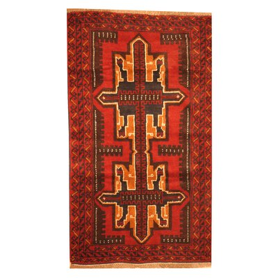 Balouchi Hand-Knotted Burgundy Area Rug