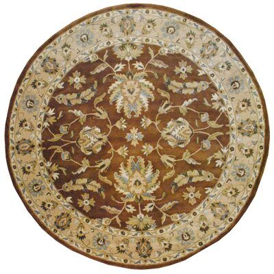 Hand-Tufted Brown/Beige Area Rug Rug Size: Round 8