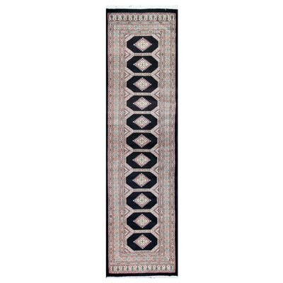 Tribal Bokhara Hand-Knotted Black/Pink Area Rug