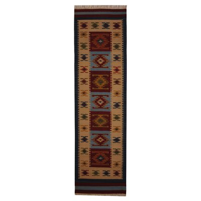 Hand-Woven Red/ Ivory Indoor Area Rug Rug Size: Runner 26 x 10