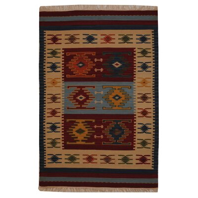 Hand-Woven Red/ Ivory Indoor Area Rug Rug Size: Rectangle 4 x 6