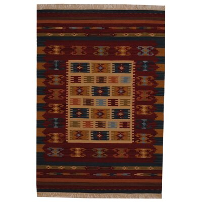 Hand-Woven Ivory/ Red Indoor Area Rug Rug Size: 4 x 6