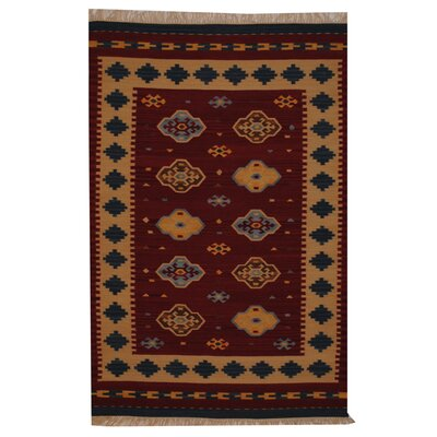 Hand-Woven Red/ Ivory Indoor Area Rug Rug Size: 4' x 6'
