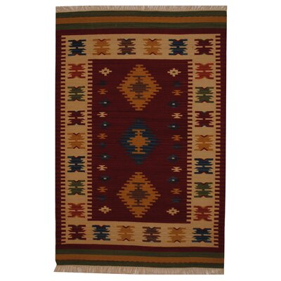 Hand-Woven Red/ Ivory Indoor Area Rug Rug Size: 4 x 6