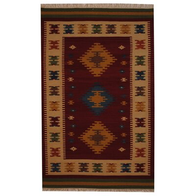 Hand-Woven Red/ Ivory Indoor Area Rug Rug Size: 5 x 8