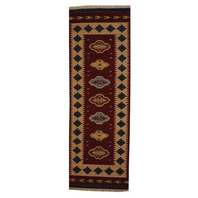 Hand-Woven Red/ Ivory Indoor Area Rug Rug Size: Runner 26 x 8