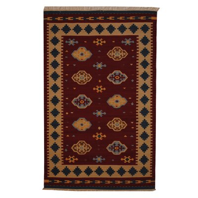 Hand-Woven Red/ Ivory Indoor Area Rug Rug Size: 5' x 8'