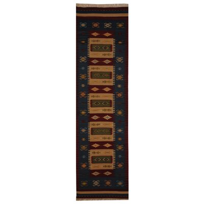 Hand-Woven Ivory/ Red Indoor Area Rug Rug Size: Runner 26 x 10