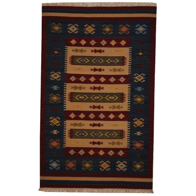 Hand-Woven Ivory/ Red Indoor Area Rug Rug Size: 5 x 8