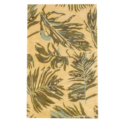 Hand-Tufted Yellow/Brown Area Rug Rug Size: Rectangle 33 x 53