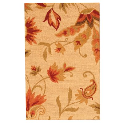 Hand-Tufted Beige and Red Area Rug Rug Size: 2'6 x 4'