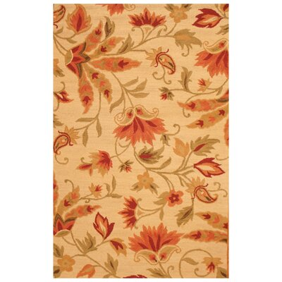 Hand-Tufted Beige and Red Area Rug Rug Size: 4 x 6