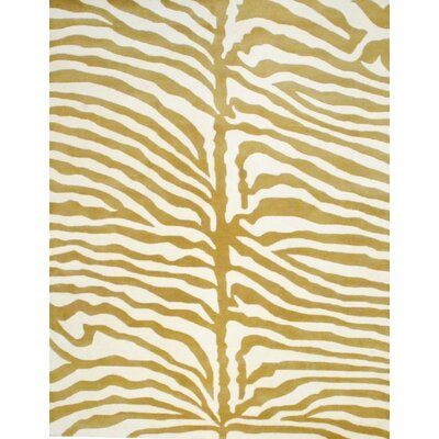 Hand-Tufted Ivory/Gold Area Rug Rug Size: Rectangle 8 x 10