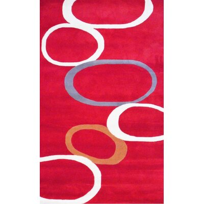 Hand-Tufted Red/Ivory Area Rug Rug Size: 5 x 8
