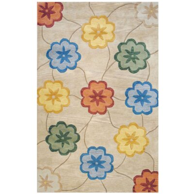Hand-Tufted Beige/Gold Area Rug Rug Size: Rectangle 5 x 8
