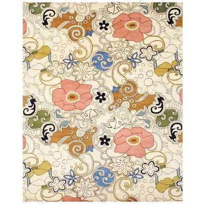 Hand-Tufted Ivory/Olive Area Rug Rug Size: Rectangle 8 x 11