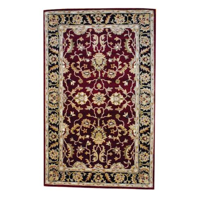 Hand-Tufted Black/Burgundy Area Rug Rug Size: 5 x 8