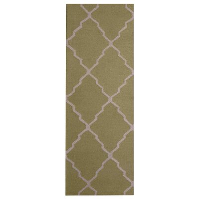 Hand-Tufted Light Green/Beige Indoor Area Rug Rug Size: Runner 26 x 7