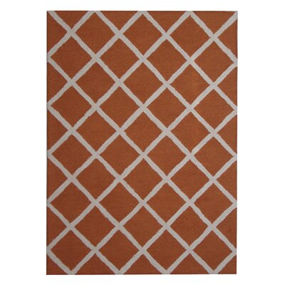 Hand-Tufted Rust/Ivory Indoor Area Rug
