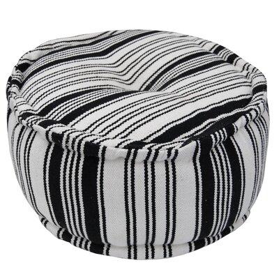 Handmade Pouf Upholstery: White/ Black