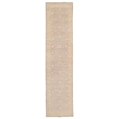 Vegetable Dye Hand-Knotted Ivory / Gray Area Rug