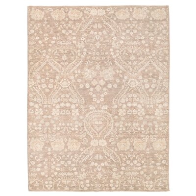 Vegetable Dye Hand-Knotted Ivory / Brown Area Rug