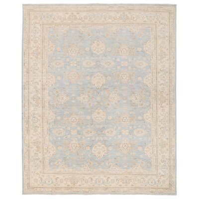 Vegetable Dye Hand-Knotted Ivory / Light Blue Area Rug
