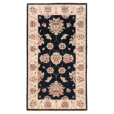 Vegetable Dye Hand-Knotted Black / Ivory Area Rug
