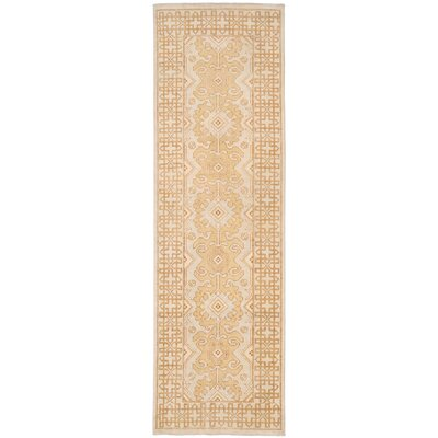 Vegetable Dye Hand-Knotted Gold Area Rug