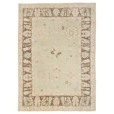 Vegetable Dye Hand-Knotted Light Green Area Rug