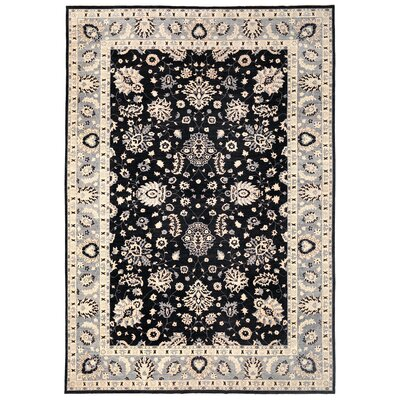 Vegetable Dye Hand-Knotted Black Area Rug