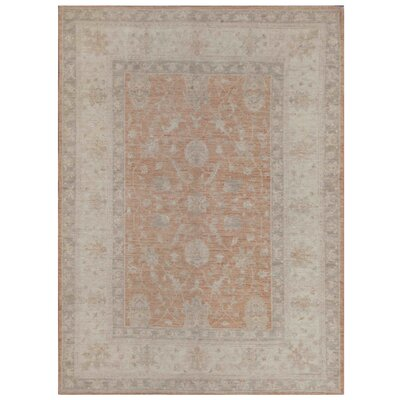 Vegetable Dye Hand-Knotted Rust/Ivory Area Rug