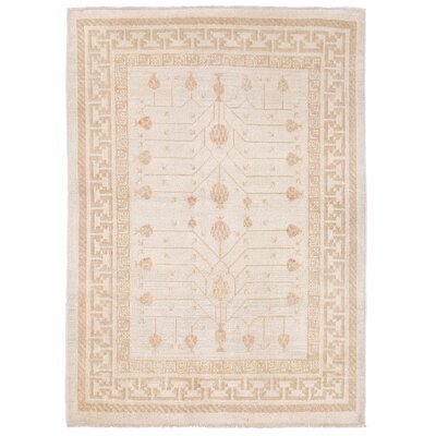 Vegetable Dye Hand-Knotted Ivory/Beige Area Rug