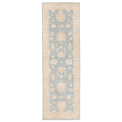 Vegetable Dye Hand-Knotted Blue/Ivory Area Rug