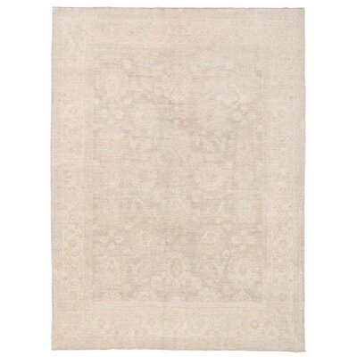 Vegetable Dye Hand-Knotted Beige/Ivory Area Rug